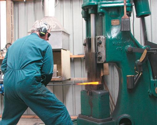 Steel under power hammer