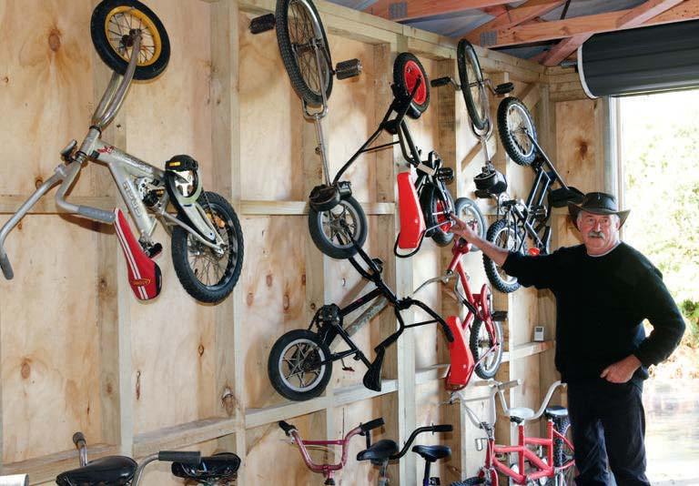 Part of Gary's collection of recycled bikes, including a couple of unicycles.