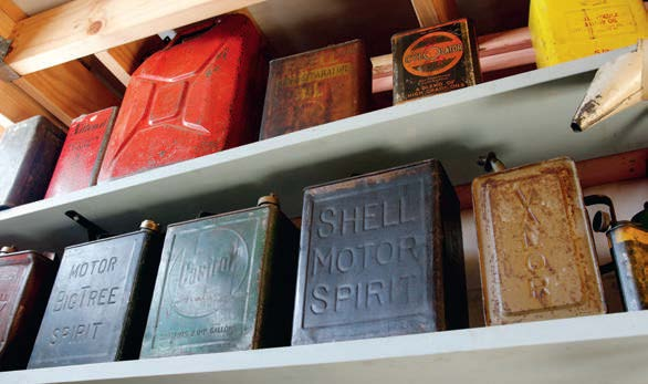 One of Gary's many collections: old metal oil containers