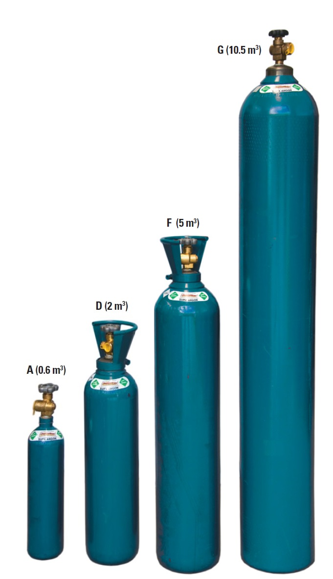 Different sizes for argon bottles