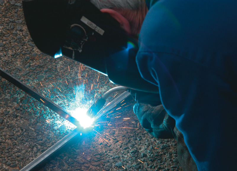MIG welding. A gas shield mix of argon and CO2 is best for welding steel