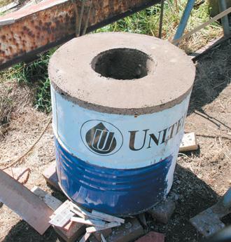 Drum concreted Note 50mm abve rim