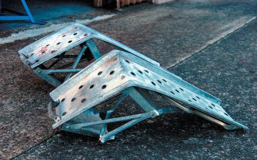 Destroyed steel ramps