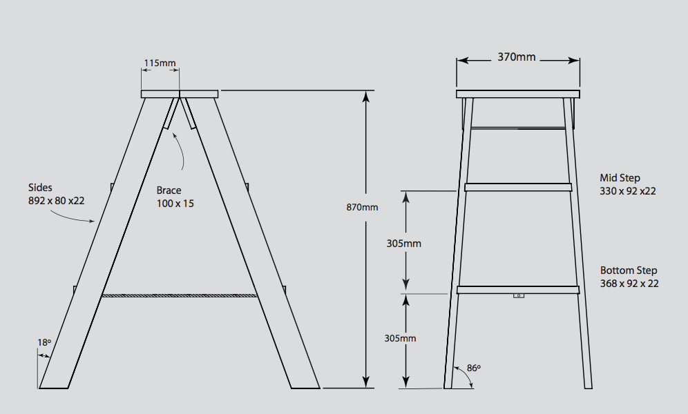 Stepladder dimensions