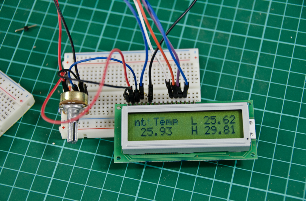 LCD wiring on the breadboard
