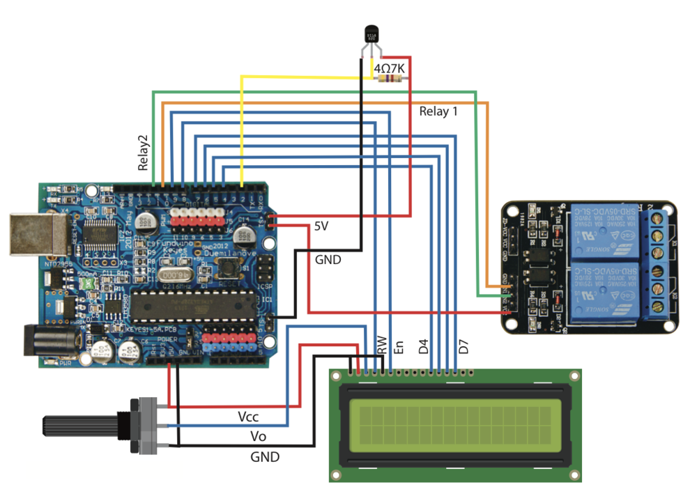 The wiring layout for the temperatrure relay with a basic LCD