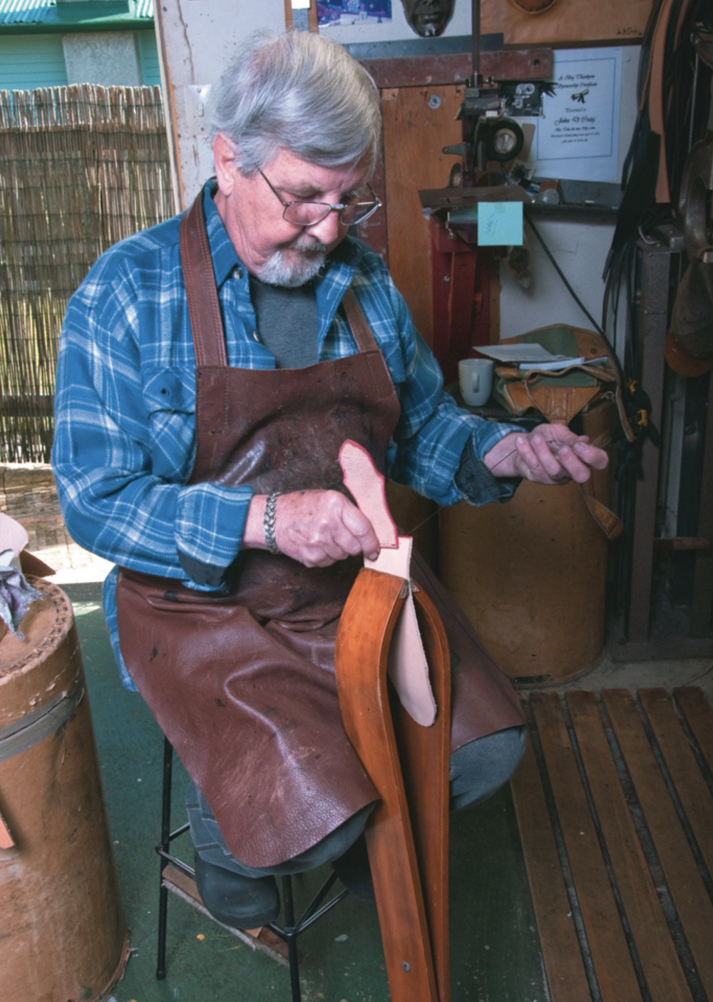 John Craig using saddler's vice