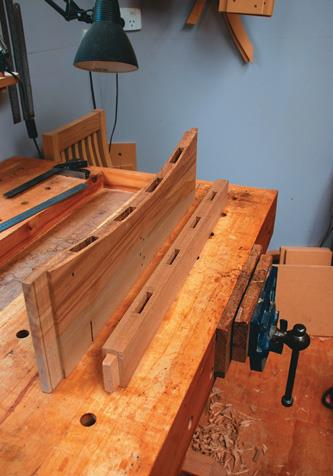 Mortises cut on the back, top and bottom rails