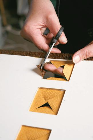 After diagonal cuts, trim with scissors.
