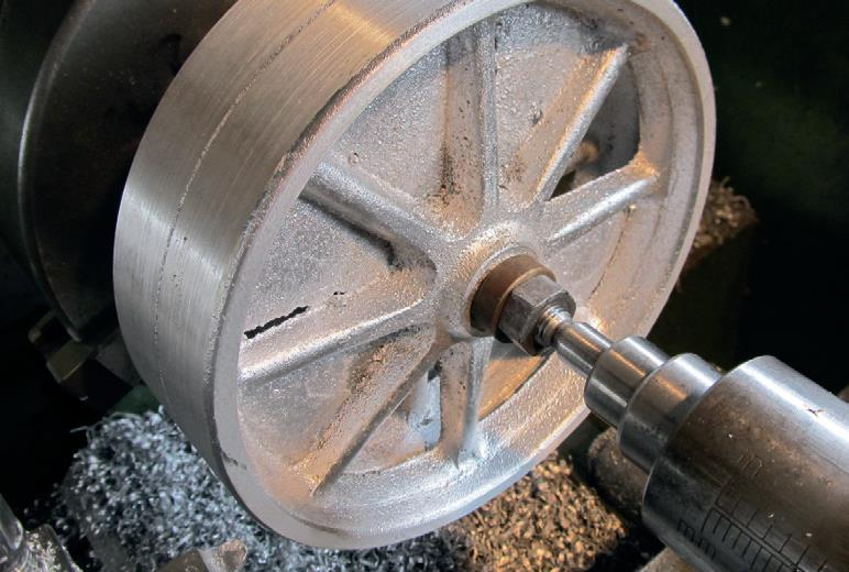 Wheels machined on mandrel, keeping both diameters the same