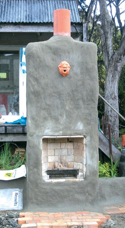 Outdoor fire finished with gargoyle.