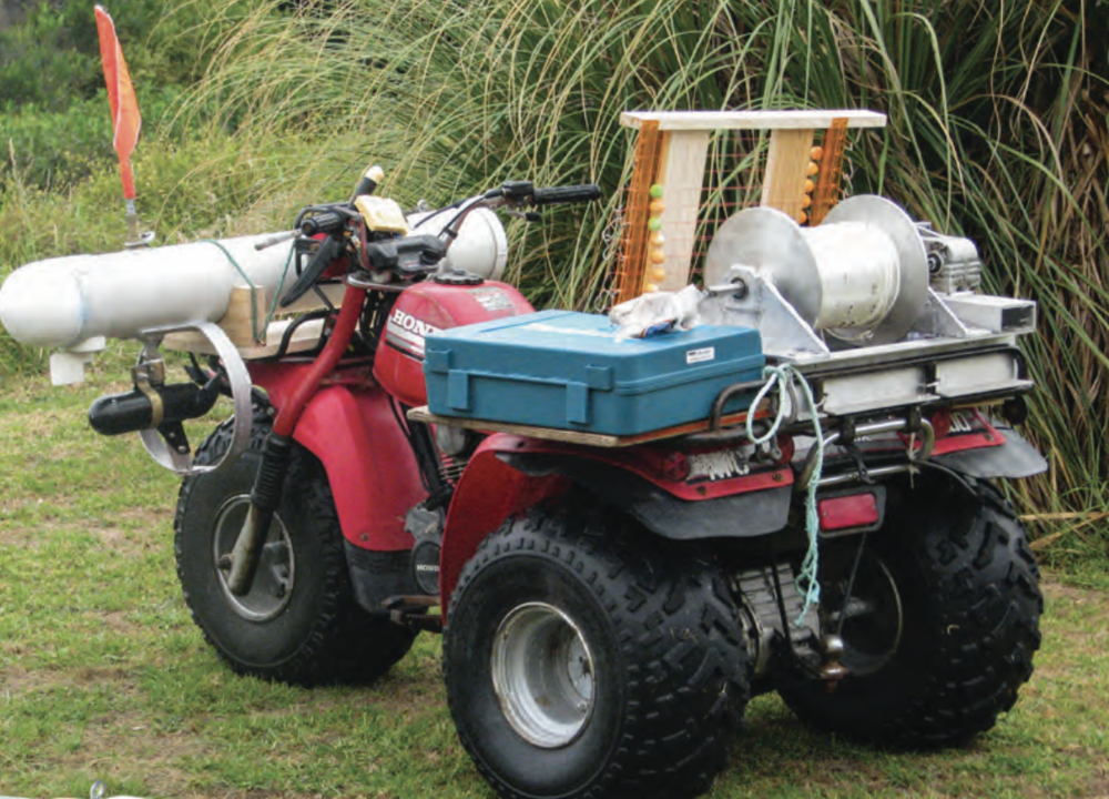 Ready for the beach, with winch, traceboard and kontiki on home-built holder.