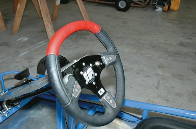 Steering wheel and shaft assembly.