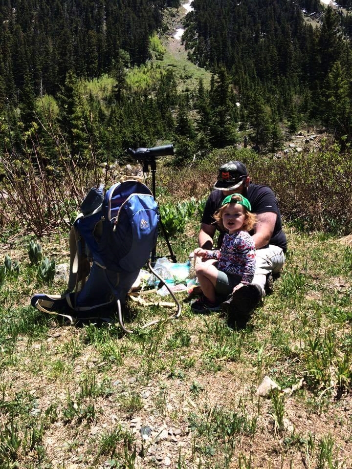Stella and I enjoying a picnic in the high country. The bighorns fed in the clearing above us.