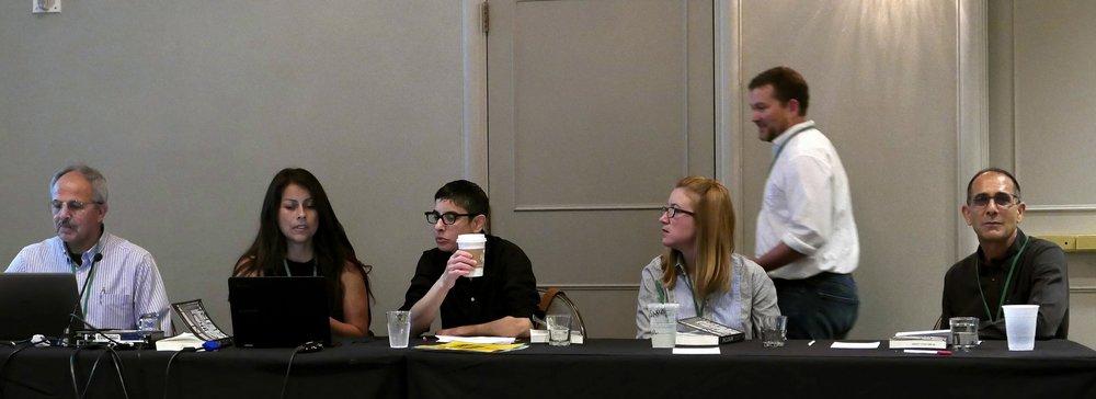 Rassem Khamaisi (panelist), Linda Quiquivix (panelist), Lisa Bhungalia (panelist), me, Reece Jones (organizer), and Gary Fields (author).
