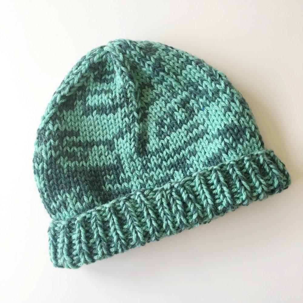 8e849b4fef5 Adult Two-Tone Wool Knit Hat in Aqua — elisemade