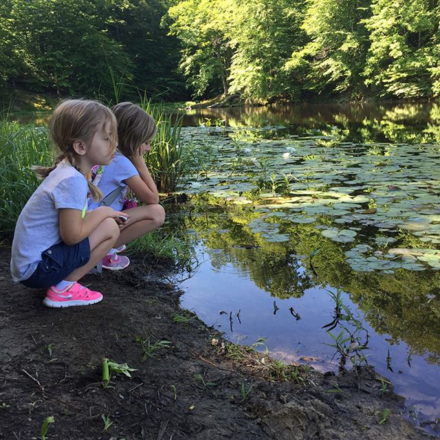 "We had a glorious morning hiking at Pocohontas state park! Found the tiniest frog, and these girls spent the entire time ""finding clues"" to the other(?) princess parks. You know, bc if you're at Pocohontas park there must be a Mulan Park, Ariel park, Aurora park, etc. Definitely a morning well spent! #wildandfree #letthekids"