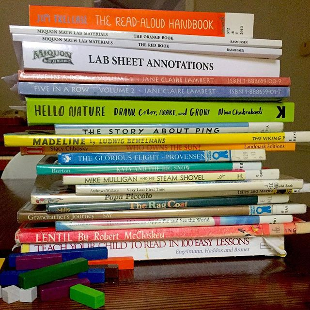 I'm prepping for our first year of homeschool and right now that means books. So many books 📚  I'm excited to see where this journey takes us but nervous also. I'd love any advice from you veteran homeschoolers! #homeschoolmom #fiveinarow #miquonmath #raisingreaders