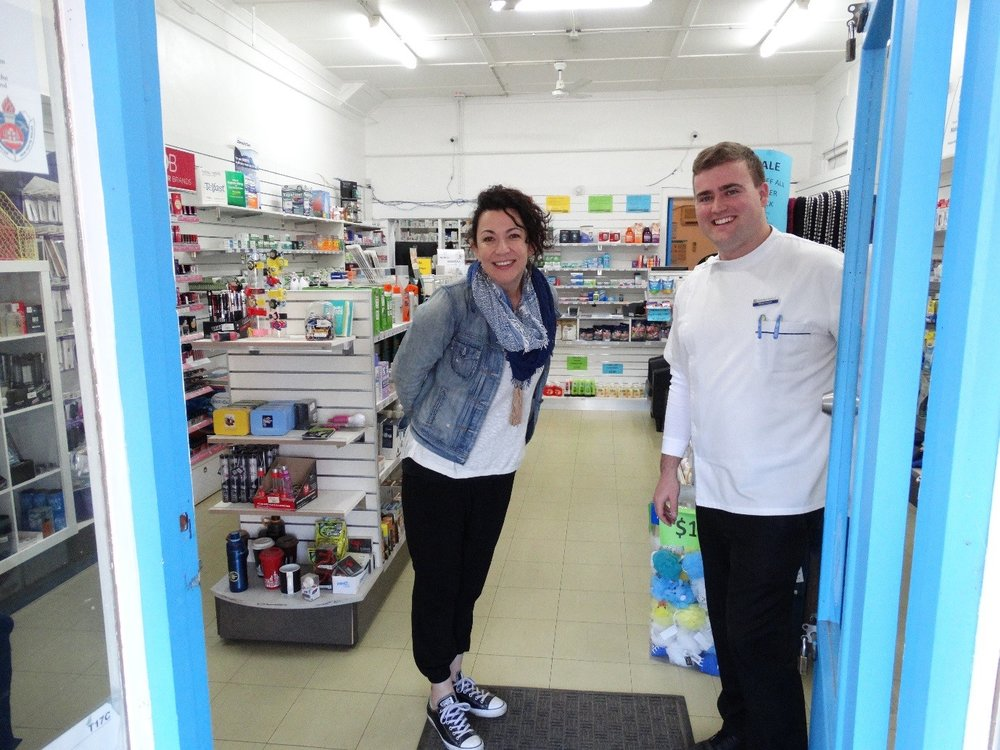 The Photo enclosed shows Carol Bagaric taking part in a store visit to the Trangie Pharmacy and being welcomed by Owner and Pharmacist Damian Lewis.