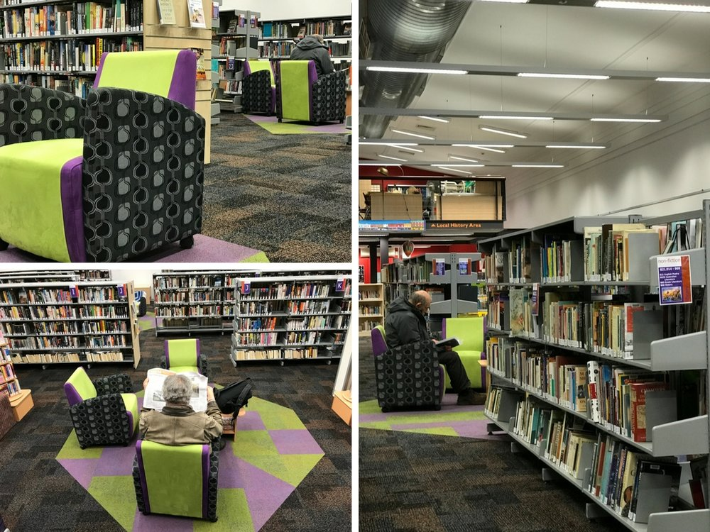 After - working with existing furniture, the carpet tiles help define these private reading areas for customers