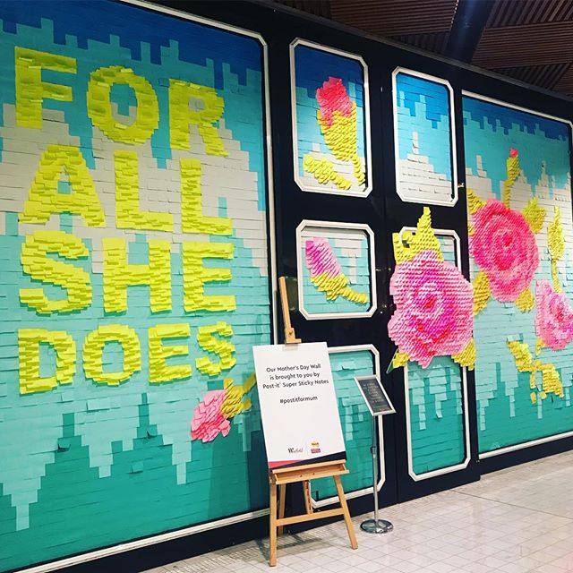 Spotted at @pittstreetmall. Love this gorgeous installation created entirely out of post-it notes for Mother's Day! Cheap, cheerful & creative! #postitformum #diy #retail #design #retaildesign #visual #merchandising #visualmerchandising #vmlife #props #vm #windowdisplays #windows #retailstyling #styling #creative #visualmerchandiser #stylingtips #display #lovemyjob #retailrevamp