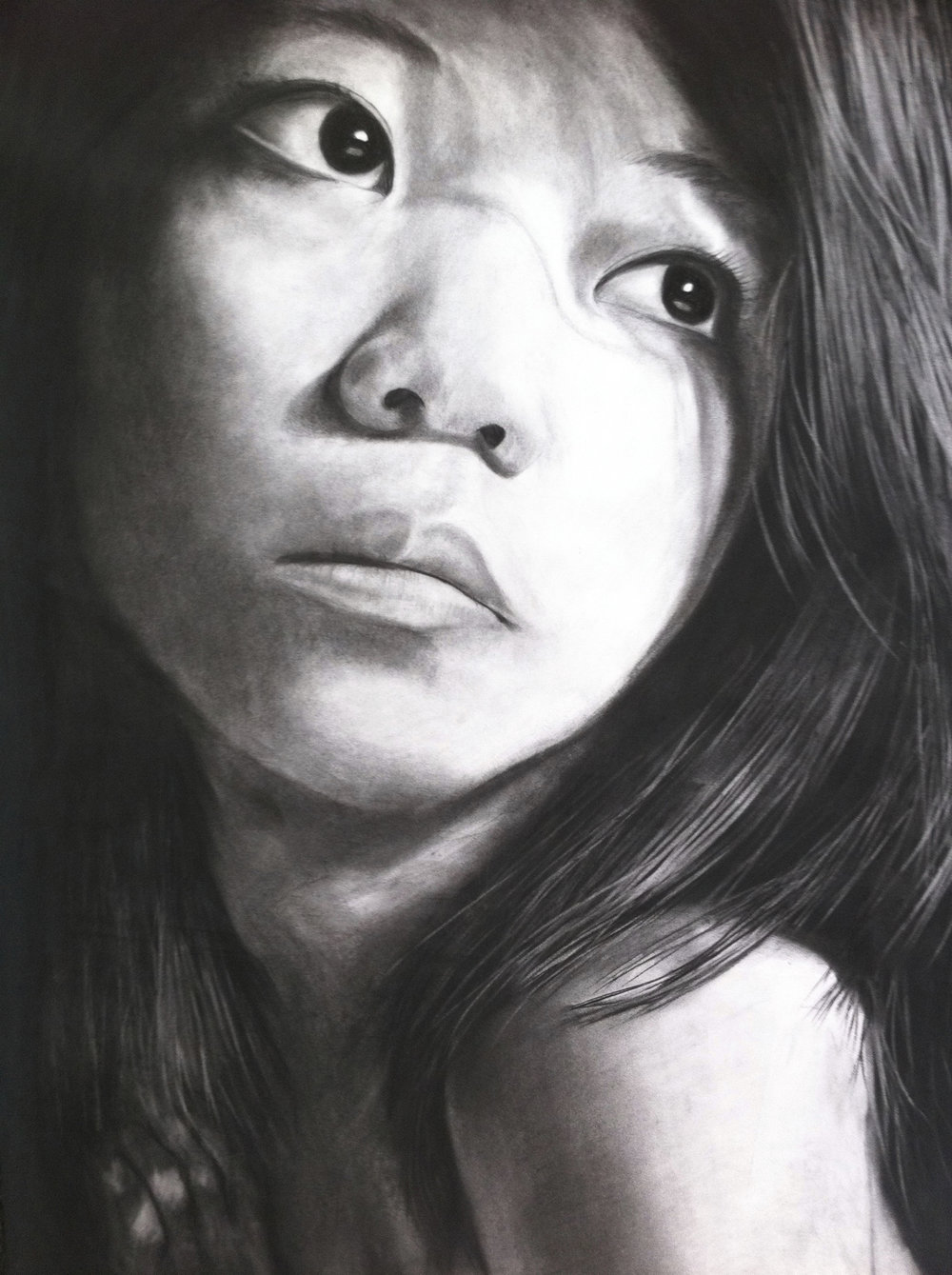 Self-portrait, charcoal