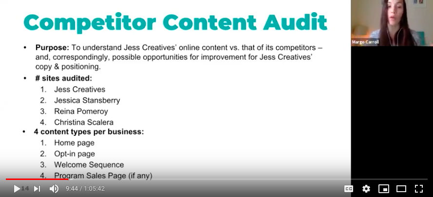Yours truly, presenting a Competitor Content Audit to a client on a Copy Presentation Call.