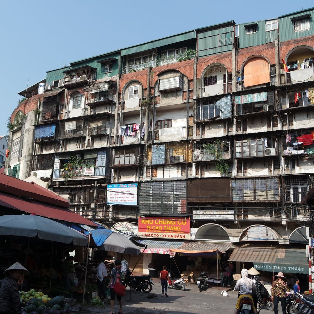Housing in the center of Hanoi, Vietnam.