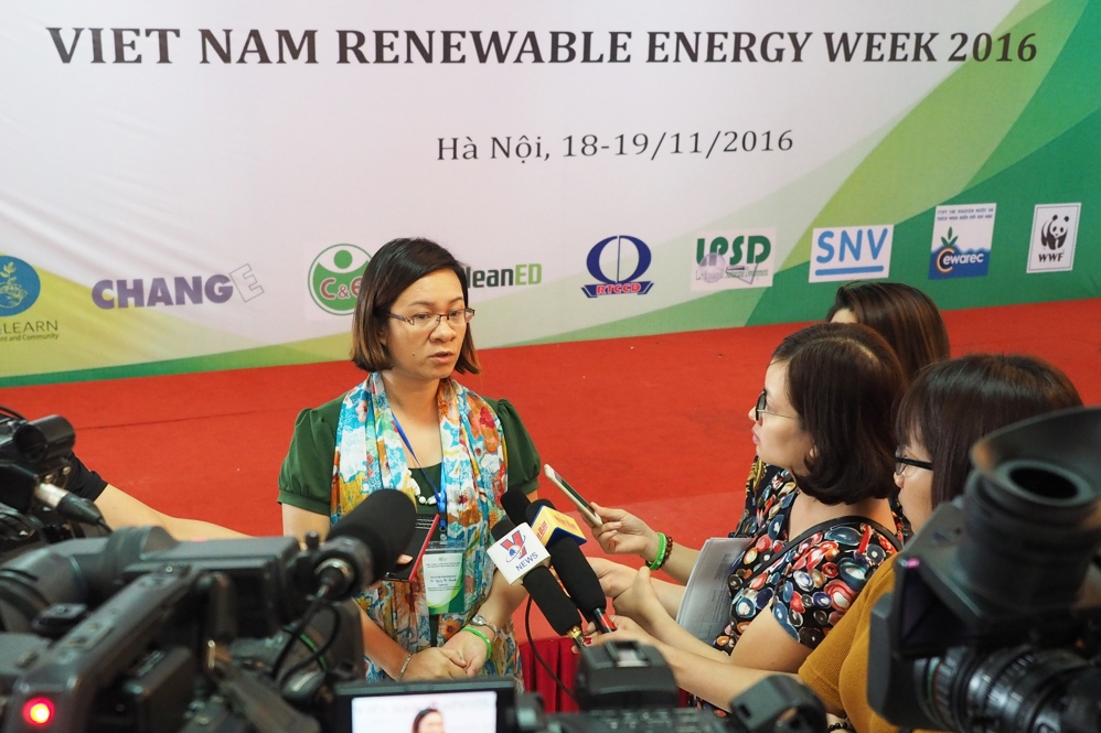 Nguy Thi Khanh, Executive Director of GreenID - Green Innovation and Development Centre, interviewed by Vietnam's media during the first Renewable Energy Week in 2016 in Vietnam.