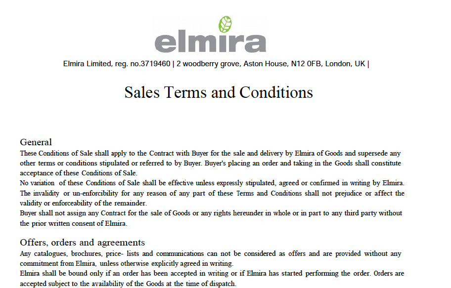 AVAILABLE DOWNLOAD OF THE ELMIRA INDUSTRIAL SUPPLIES' SALES TERMS AND CONDITIONS