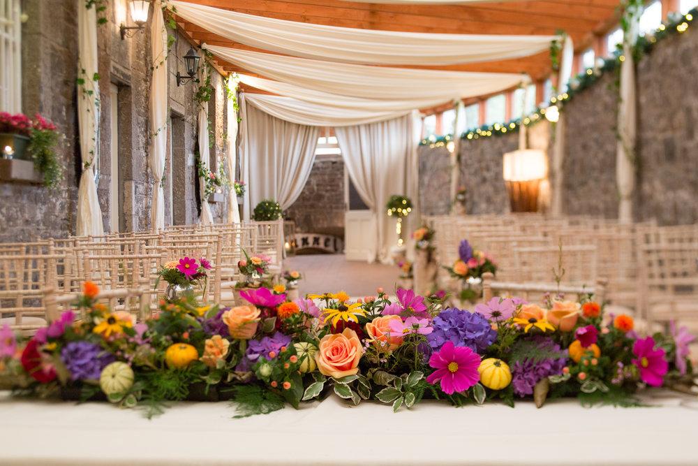 Flowers at wedding reception