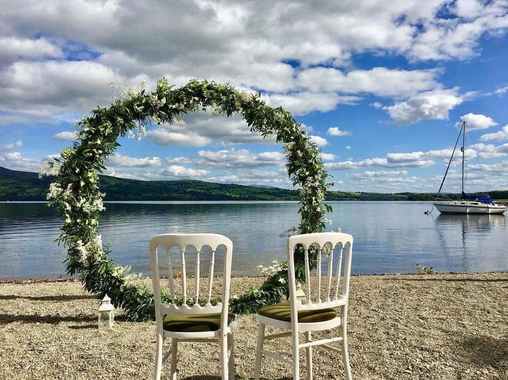 The moongate for Sam and Nick's wedding, on the shores of Lough Derg at Annacarriga, Killaloe, Co. Clare
