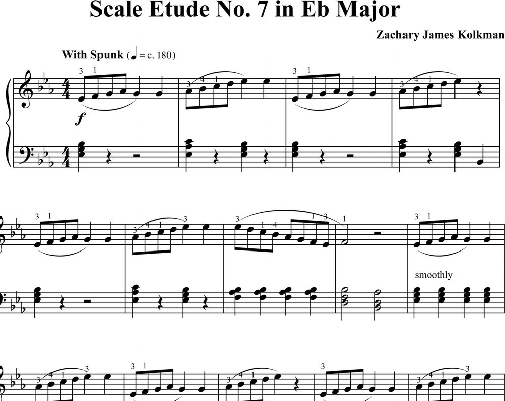 Sheet Music Download:  Scale Etude No. 7 in E-flat Major
