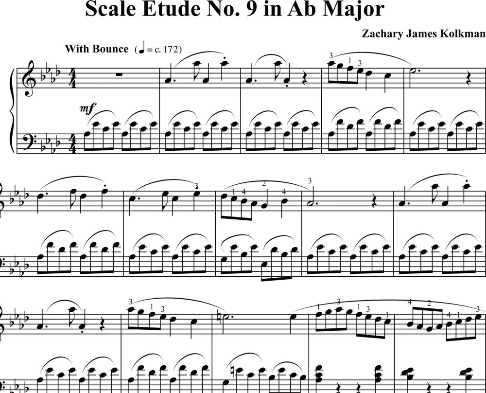 Sheet Music Download:  Scale Etude No. 9 in A-flat Major