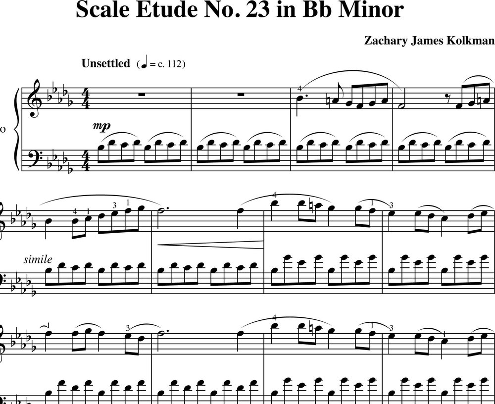 Sheet Music Download:  Scale Etude No. 23 in B-flat minor