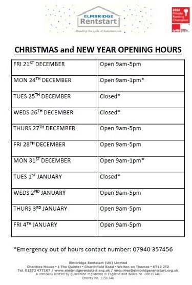 2018 Christmas Holidays Hours
