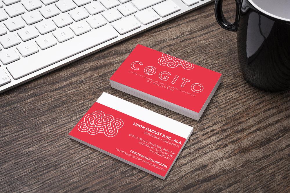 Cartes d'affaires. Déclinaison de l'icône de la marque comme motif sur vinyle, site Web, papier à lettres, etc.