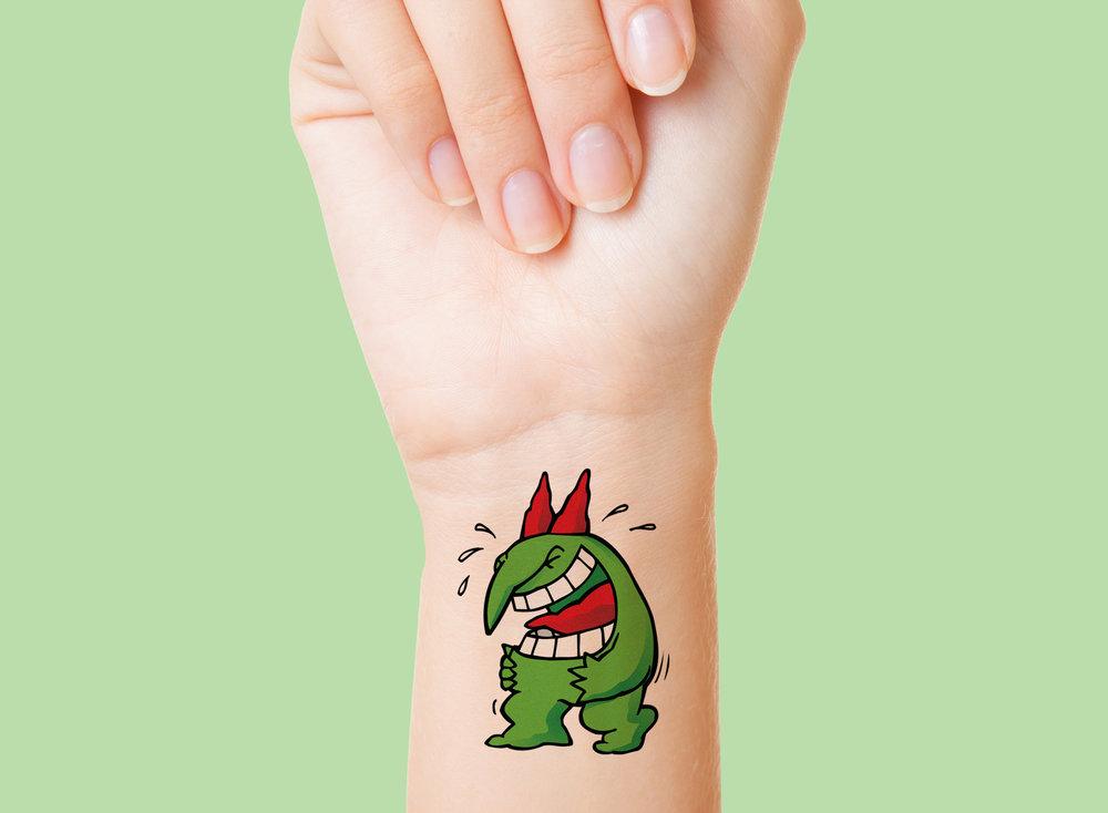 Tatouages créés pour la boutique promotionnelle  Juste Pour Rire.