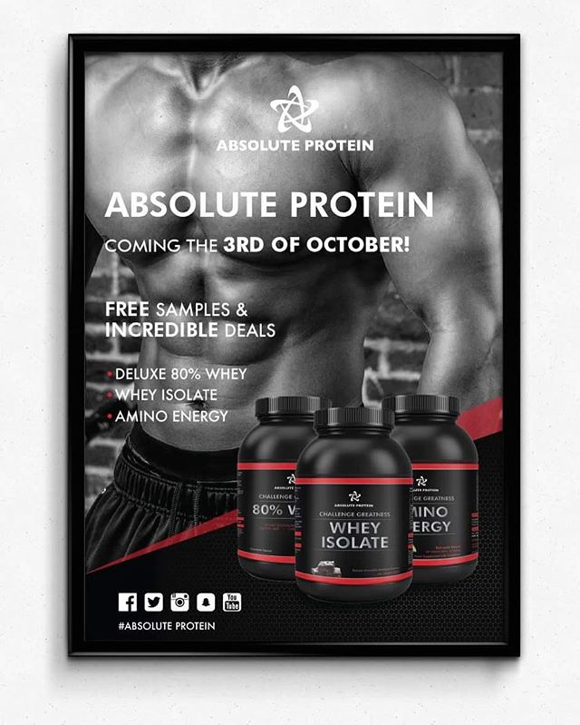 Absolute protein poster promoting new products! #designer #graphicdesign #print #poster #designer #tyopgraphy #branding #protein #nutrition supplements #freelance