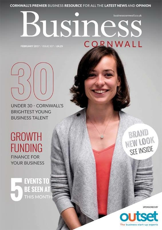 Maddi on the front cover of Business Cornwall