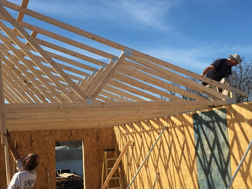 The roof being constructed on a Habitat for Humanity House in Belpre, OH.