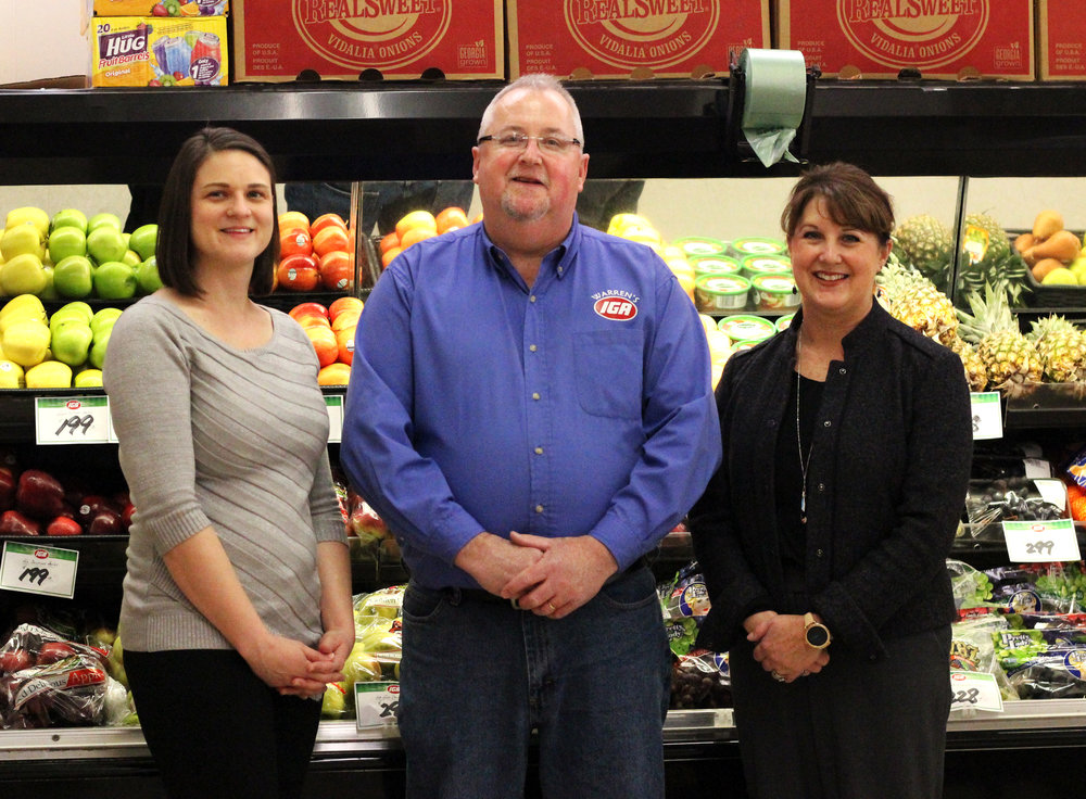 From Left to Right:  Heather Allender, President and CEO of Marietta Community Foundation; Mike Morrison, Store Manager of Warren's IGA; Staci Matheney, Peoples Bank Foundation Chairperson and President