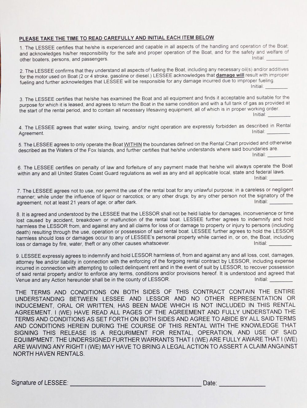Page 2 Boat Rental Agreement