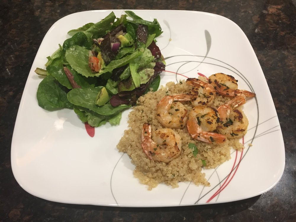 Ding ding ding!! This email was the winner of the month. I put the shrimp on a bed of quinoa with green onions and garlic, and it paired  perfectly  with that salad!  And  I made so much salad, I ate that stuff for three days straight and was sad to see it go. Mmmmm!