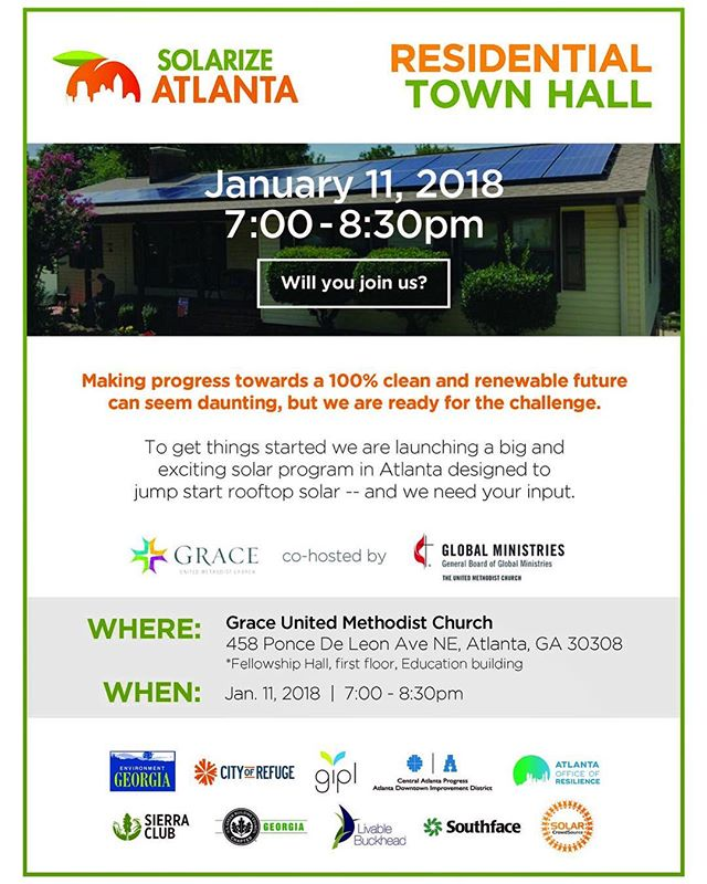 #Solarize = Bulk purchasing for solar panels and HAPPENING TONIGHT: The first #SolarizeAtlanta Town Hall, focusing on residential community-based solar photovoltaic bulk-purchasing, which makes solar more affordable and accessible for the citizens of Atlanta - the more that participate, the greater the savings! 💪☀️ Join the us tonight at Grace United Methodist Church from 7:00 p.m.-8:30 p.m. for the #Solarize Atlanta Residential Town Hall and how it will fit into Atlanta's 100% #Clean #Energy Plan. RSVP here or in our bio: https://www.facebook.com/events/199790467265003/?ti=icl