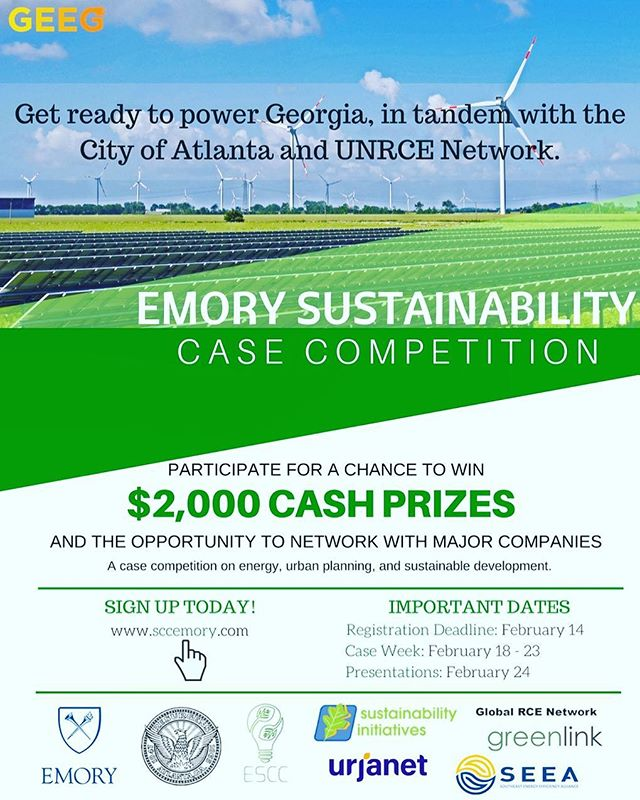 Interested in urban planning, sustainable development, or energy? Get ready to solve a problem for the @CityofAtlantaga and UNRCE network at the Emory Sustainability Case Competition, the first multidisciplinary sustainability case competition. Compete for prizes as you present your solution to a real-world sustainability crises to top firms and governmental organizations.  Winners get $1000, and 2nd and 3rd place will win $600 and $400 respectively! Additionally, get your resume seen by industry leaders including Urjanet, The Greenlink Group, SEEA, and more. The event is Feb 24, and registration is due by Feb 14. More information on the competition and participating organizations, including our official sponsors, Emory's OSI and Urjanet, can be found at www.sccemory.com. Questions? Email our friends at emorysustainabilitycase@gmail.com We hope to see you there!