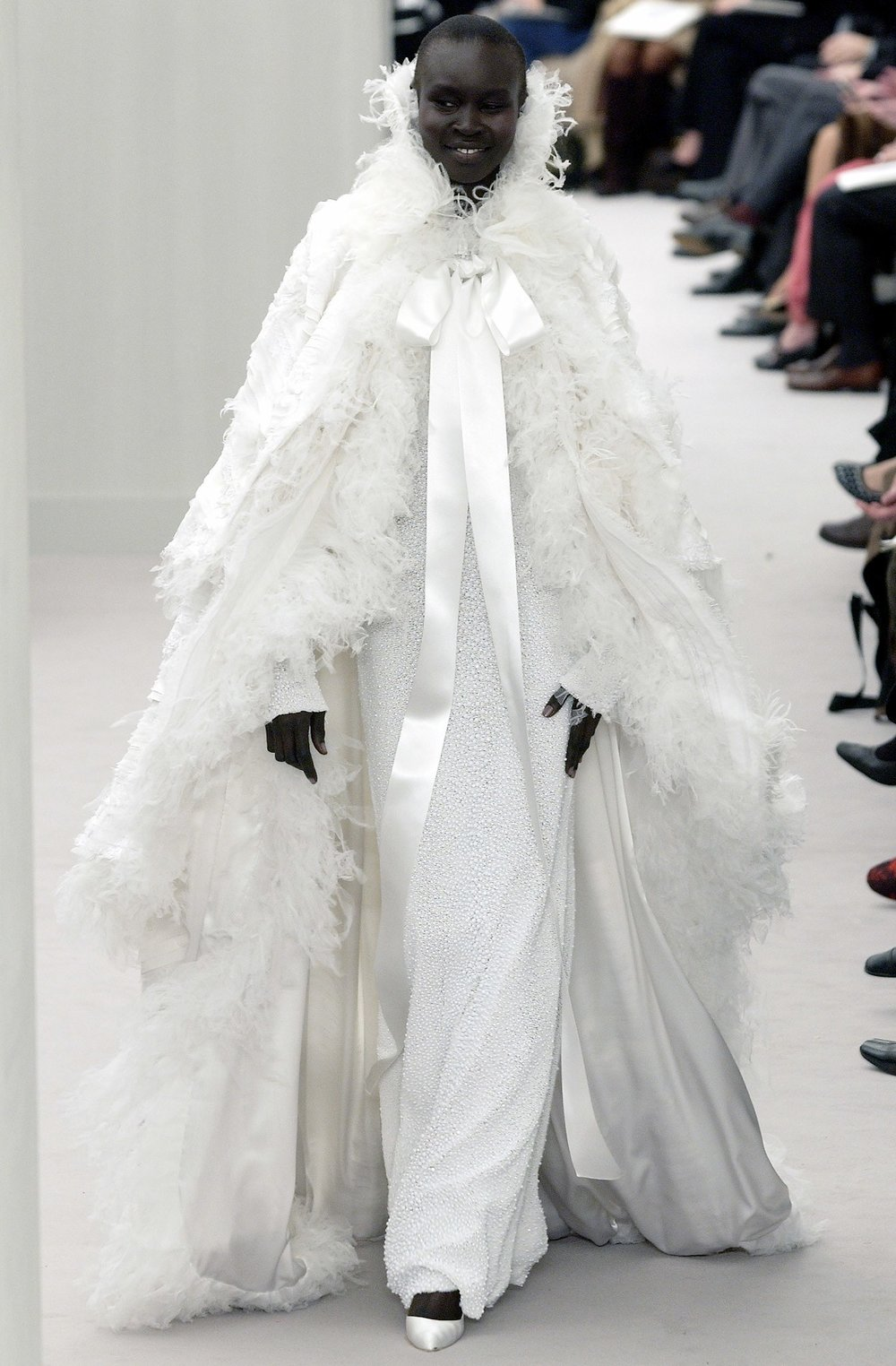 Alek Wek as the bride at the Chanel Haute Couture Spring 2004 show.