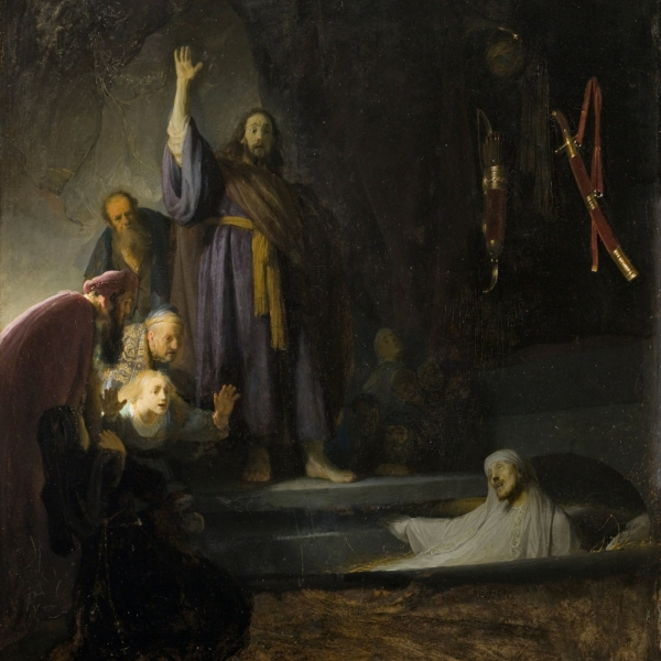 """The Raising of Lazarus"" by Rembrant, The Raising of Lazarus, Rembrandt. Oil on panel. 37 15/16 x 32 in. (96.36 x 81.28 cm). Late 1620s or 1630-32. Los Angeles County Museum of Art"