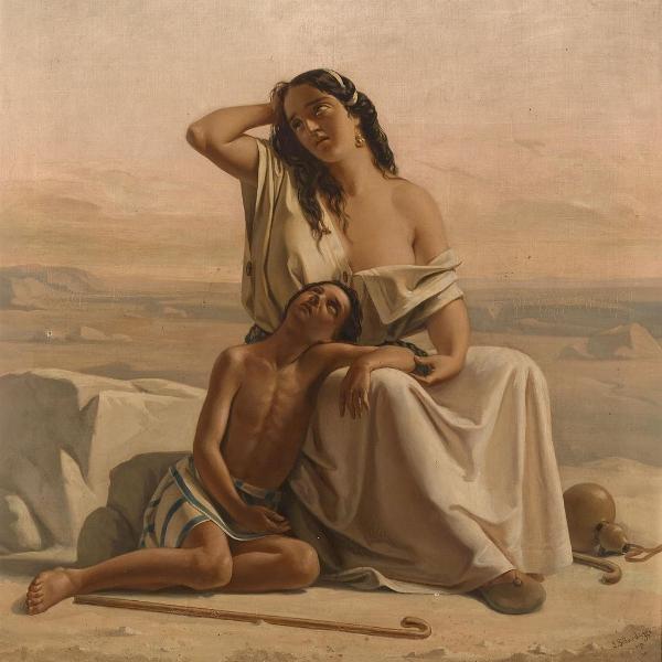 Hagar und Ismael in der Wüste by Luigi Alois Gillarduzzi (1822-1856)