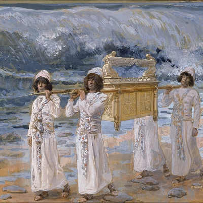 """The Ark Passes Over the Jordan"" By James Jacques Joseph Tissot (1836 - 1902) (French) Details of artist on  Google Art Project [Public domain], via Wikimedia Commons"
